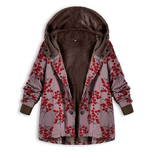 ZHANSANFM Hoodie Frauen Langarm Baumwolljacke Blumendruck Damen Trenchcoat Mit Kapuze Large Size Plus Baumwolle Leinen Flauschigen Pelz Reißverschluss Jacke Outwear Mäntel (XL, rot) Classic Satin Mantel
