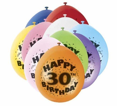 30th Happy Birthday Latex Balloons 10pk