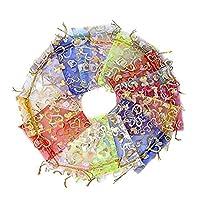 حقيبة هدية على شكل قلب من الأورجانزا 20 قطعة حقائب برباط لحفلات الزفاف 9 × 7 سم