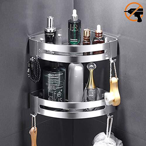 Kazeila 2 capas Sin Necesidad de Taladrar Estante Ducha, Aluminio Espacial Perforado Entramado de Baño Adhesivo Estantes Cesta para Ducha Estanteria Organizador Baño