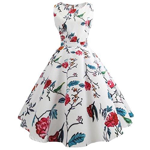 TEBAISE Sommer Frauen Konzert Formellen Anzug Vintage Druck Bodycon Sleeveless beiläufige Abendgesellschaft Prom Swing Kleid Geschichteten Rock(Weiß2,EU-38/CN-L)