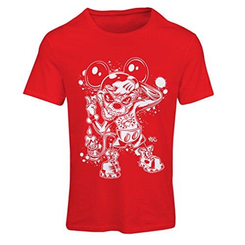 Dead Dj Kostüm - lepni.me Frauen T-Shirt Eine Maus mit Einem tollen Halloween-Party-Kostüm (Medium Rot Mehrfarben)