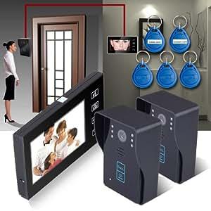 Keedox® Garde de votre domicile! Portier Interphone Avec fil Caméra de Surveillance Interphone Vidéo Sonnette Intercom Visiophone avec 2 Caméras et 1 Moniteurs de 7 Pouces TFT Ecran