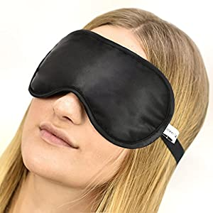 Jasmine Silk 100% Pure Silk Filled Eye Mask / Sleeping Mask Sleep Mask - BLACK