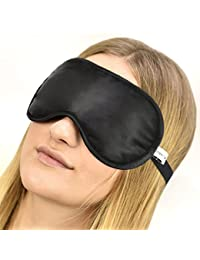 100% Seta Mascherina per dormire 100% Silk Sleep Eye Mask, colore: Nero