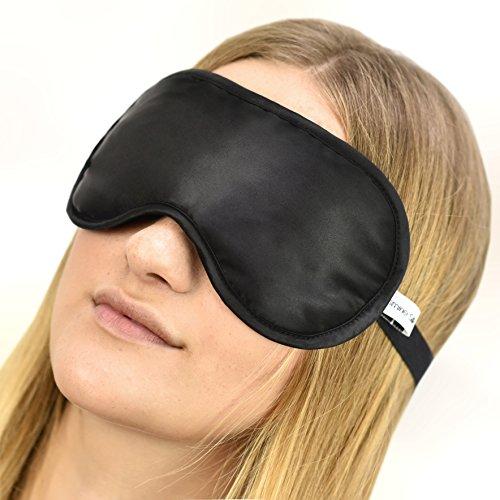 loveorama.de Jasmine Silk Luxus 100% Seide Schlafmaske Augenmaske Reisen Silk eye mask – Schwarz