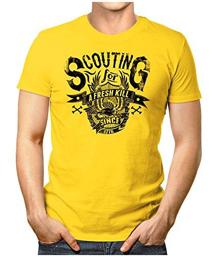 PRILANO Herren Fun T-Shirt - SCOUTING - Small bis 5XL - NEU Gelb