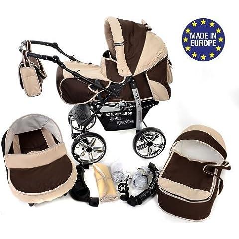 Baby Sportive - Sistema de viaje 3 en 1, silla de paseo, carrito con capazo y silla de coche, RUEDAS ESTÁTICAS y accesorios, color marrón, beige