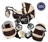 Baby Sportive - Sistema da viaggio 3-in-1 (carrozzina, seggiolino auto e passeggino), con accessori, colore: Marrone/beige
