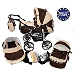 Kamil, Classic 3-in-1 Travel System with 4 STATIC (FIXED) WHEELS incl. Baby Pram, Car Seat, Pushchair & Accessories (3-in-1 Travel System, Brown & Beige)