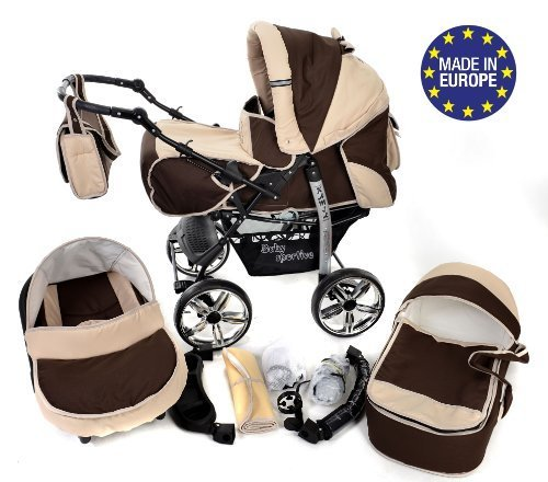 3-in-1 Travel System with Baby Pram, Car Seat, Pushchair & Accessories, Brown & Beige 51vmxvkH64L
