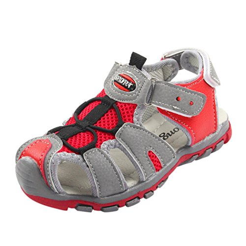 len, Kinder Schuhe Closed Toe Sommer Strand Flache Sandalen (30, 02-Rot) (Baby Cowboy Stiefel Für Mädchen)