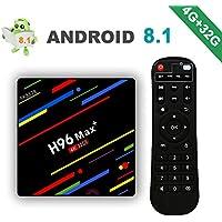 [2018 Version] Android 8.1 H96 Max+ 4Go + 32Go Smart TV Box 4K Ultra HD Boîtier TV avec RK3328 Quad-Core 64bit 2.4G WiFi 100M Ethernet H.265 3D HDR Set Top Box