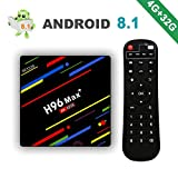[2018 Version] Android 8.1 H96 Max+ 4Go + 32Go Smart TV Box 4K Ultra HD Boîtier TV avec RK3328...