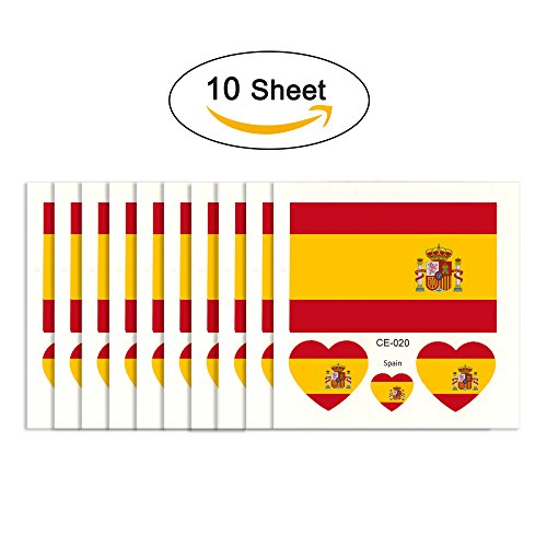 joseche National Flagge Tattoo 10 modische temporäre Tattoos [enthalten iClean Tücher] Umweltfreundlich Wasserdicht Tattoo Aufkleber für 2018 World Cup, Fußball Soccer Fans Sport Spiel., spanien