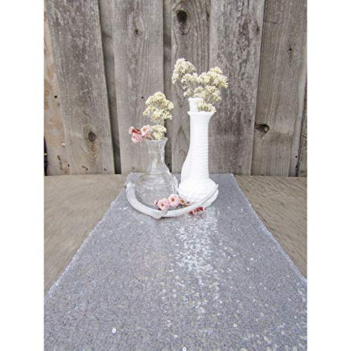 Zblp Camino De Mesa Silver Sequin Table Runner 30