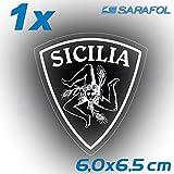 1x Sizilien Trinacria Aufkleber (Nr.067) Weiß Transparent 6,0 x 6,5 cm Adesivo Sicilia Sticker Sicily