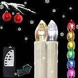 Henda® 50x LED Kerzen Bunt Lichterkette kabellose Kerzenlichter Weihnachtsdeko RGB Mit Fernbedienung