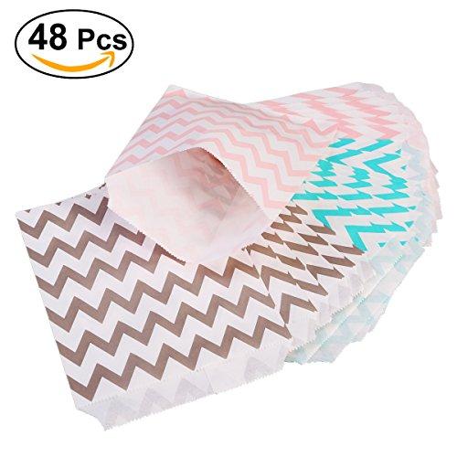 (NUOLUX Süßigkeiten Streifen Papiertüten Süßes Geschenk Taschen Tüten - Ideal für Geschenkläden, Hochzeit sbevorzugungen, Süßigkeiten Wagen,48 PCS,3 Farben)