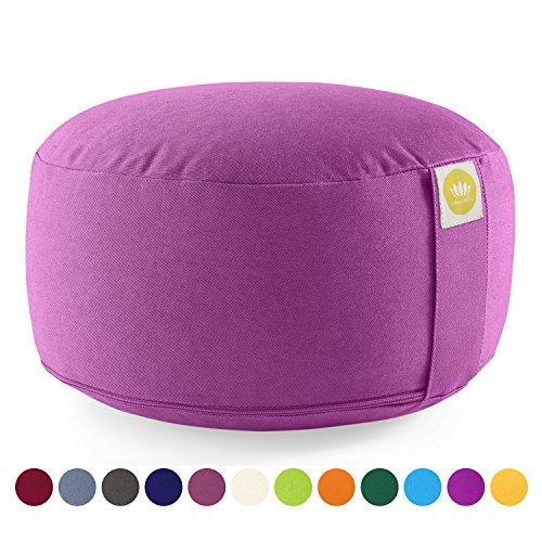 Meditationskissen /Yogakissen LOTUS Bezug: Baumwolle (kbA), GOTS zertifiziert (Purple Violett)