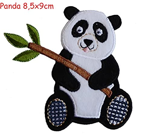 2 Ecussons patch appliques Panda 9X9Cm Diplodocus 10X8Cm thermocollant brode broderie pour vetement jeans veste enfant bebe femme avec dessin TrickyBoo Zurich Suisse pour France