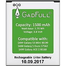 GadFull® Batería para Samsung Galaxy S3 mini | Fecha de fabricación del 2017 | Corresponde al original EB-F1M7FLU | Modelo de Smartphone Galaxy Ace 2 i8160 | Galaxy S3 mini i8190 | Galaxy S Duos S7562 | Perfecto como batería de repuesto
