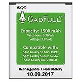 GadFull Akku für Samsung Galaxy S3 Mini | 2017 Baujahr | Wie EB-F1M7FLU | Galaxy Ace 2 i8160 | Galaxy S3 Mini i8190 | Galaxy S Duos S7562 | Batterie Accu Battery