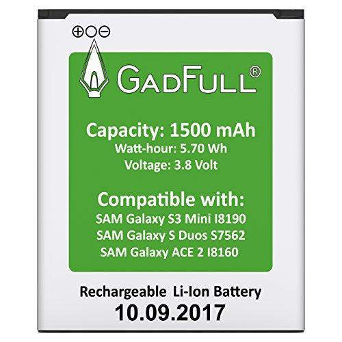 GadFull® Batterie pour Samsung Galaxy S3 mini | Date de Production est 2017 | correspond à l'EB-F1m7FLU Lithium-Ionen-batterie d'origine du modèle Galaxy Ace 2 i8160| Galaxy S3 mini i8190 | Galaxy S Duos S7562 | batterie de téléphone portable pour votre Smartphone | Parfait comme batterie de remplacement