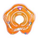 Eizur Baby Nuoto Anello Salvagente Regolabile per Bambini Supporto di Collo Bambini nuotano anello Baby galleggiante collare da bagno Baby Float Piscina Neonati, Arancione