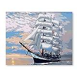 Con Pintura Enmarcada Por Números Pintura Artística Por Número Navegación Diy Costa Del Mar Puesta Del Sol Pintura De Paisaje Coloreada A Mano Decoración Pintura 40x50cm