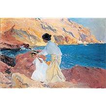 POSTERLOUNGE Alu Dibond 150 x 100 cm: Clotilde and Elena on The Rocks, Javea de Joaquin Sorolla y Bastida/Bridgeman Images