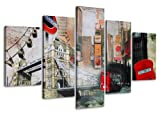 Visario Leinwandbilder 5515 Bilder auf Leinwand 160 x 80 cm London 5-teilig