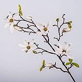 artplants Künstlicher Magnolienzweig Mila, 4 Blüten, Knospen, weiß, 75 cm - Künstliche Magnolie/Kunstblumen