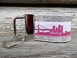 Taschenanhänger Schlüsselanhänger Filz hellgrau Hamburg Skyline pink weiß!