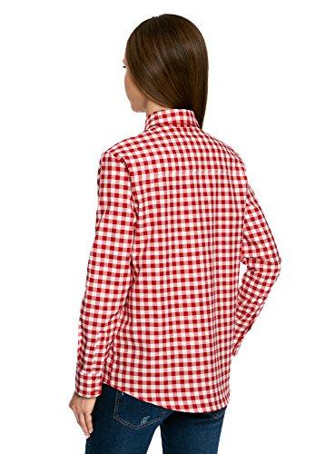 oodji Ultra Damen Lässiges Hemd mit Verstellbarer Armlänge Rot (4512C)