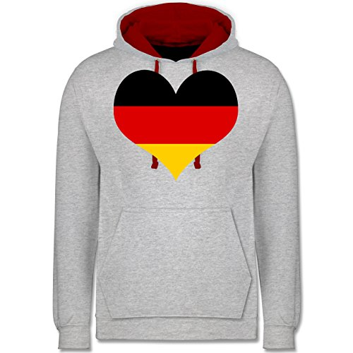 Fußball-WM 2018 - Russland - Deutschland Herz - Kontrast Hoodie Grau Meliert/Rot
