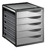 Rotho Spacemaker Schubladenbox / Bürobox mit 5 Schüben, Kunststoff (PS), transparent/schwarz, A4 (33 x 28,5 x 32 cm)