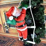 ESHOO Weihnachtsmann auf Leiter Weihnachts Deko Weihnachten Figur Nikolaus