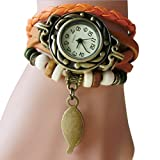 Fashion Watches ,Women Children Retro LeatherWinding Bracelet Leaf Pendant Watch (one, Orange)