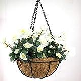 YOSPOSS künstlichen Blumenampel Blumenkasten kz9524-w774Outdoor Rot Azalea Bush Blume Terrasse Rasen Garten Blumenampel mit Kette Blumentopf, Gelb Outdoor Innen für Haus/Garten Dekoration