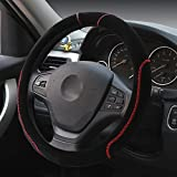 Hivel Winter Hit Farbe Plusch Lenkradbezug Weich Warm Lenkradhulle Universal Anti Rutsch Hit Color Lenkradschoner Fahrzeug Auto Lenkradabdeckung Vehicle Car Steering Wheel Cover 38cm - Schwarz