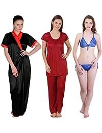 Freely Satin Full Robe, Nightsuit & Lingerie Set - Pack of 3