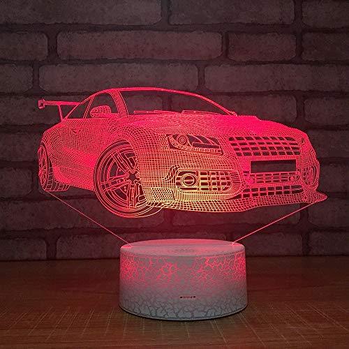Tianyifengg 3D Nachtlicht -7 Farbe - Fernbedienung - Sportwagen-Nachtlicht Kreatives Touch-Farblicht Smart Power Light -