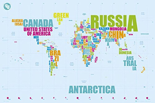 Poster Landkarte Weltkarte - Länder in Worten dargestellt - englisch - Größe 61 x 91,5 cm - Maxiposter (Weltkarte In Worten)