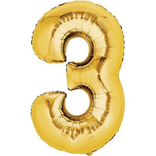 Folienballon - Zahl 3 GOLD - XXL 86cm, Zahlen Luftballon + PORTOFREI mgl + Geschenkkarten Set + Helium & Ballongas geeignet. High Quality Premium Ballons vom Luftballonprofi & deutschen Heliumballon Experten. Luftballondeko zum Geburtstag oder Jubiläum. Lustiger Geburtstagsgeschenk Ballon