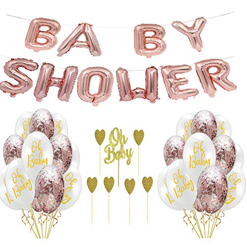 WAN JIA GUO JI Decoraciones para Baby Shower, Suministros neutros de género en Dorado y Blanco Niño o niña con Pancarta de Baby Shower y Adornos de Pastel y Globos de Confeti Dorado
