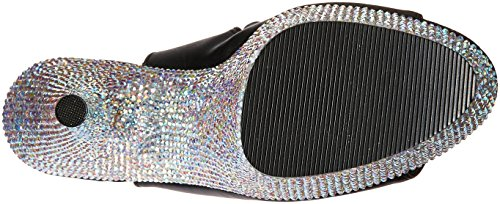 Pleaser BEJEWELED-1018DM-6 Blk Faux Leather/Slv Multi RS