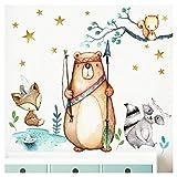 Little Deco Murale Animaux de la forêt flèche et Arc I S - 61 x 46 cm (LxH) I Murale Tatouage Chambre d Enfant garçon déco Sticker Mural bébé DL195
