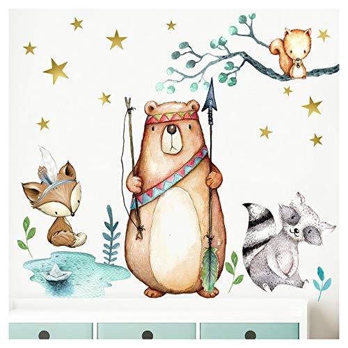 Little Deco Wandbild Waldtiere Pfeil & Bogen I M - 142 x 108 cm (BxH) I Wandbilder Wandtattoo Kinderzimmer Junge Deko Babyzimmer Junge Wandsticker Baby Bilder DL195