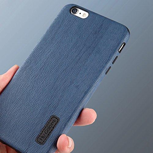 MOONCASE iPhone 6 Plus/iPhone 6s Plus Cover, Custodie Morbide TPU Antigraffio Antiurto Protettive [Fabric Pattern] Resiliente Armor Case Cover per iPhone 6 Plus/iPhone 6s Plus 5.5 Orange Blue-2